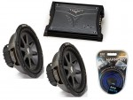 """Kicker Car Stereo 10"""" Sub System CVR10 Dual 4 Ohm Subwoofer Pair, ZX450.2 Amp & Install Wire Kit"""