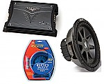 """Kicker Car Stereo 12"""" Sub System CVR12 Dual 2 Ohm Subwoofer, ZX200.2 Amp & Install Wire Kit"""