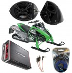 "Artic Cat Snowmobile Rockford R152 &  PBR300X4 Amp 5 1/4"" Speaker Pod Package"