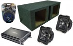 """Kicker Car Audio 10"""" Pair S10L7 Dual 2 Ohm Loaded Vented Subwoofer Box, CX1200.1 Amp & Amplifier Install Kit"""