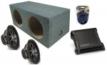 """Kicker Car Stereo 10"""" Pair CVR10 Dual 2 Ohm Loaded Sealed Subwoofer Box, ZX400.1 Amp & Amplifier Install Kit"""