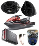 "Kawasaki Jet Ski PWC Marine Rockford R152 &  PBR300X4 Amp Custom 5 1/4"" Black Speaker Pods Package"