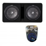 "Kicker DCWR12 12"" Dual Loaded 2-Ohm CompR Vented Subwoofer Enclosure with 1800W Amplifier Kit"