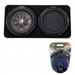 """Kicker TCWRT10 10"""" Dual Loaded 4-Ohm CompRT Thin Profile Subwoofer Enclosure with 600W Amplifier Kit"""