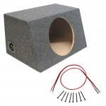 Sealed 12 Inch Car Audio Hatch Subwoofer Enclosure Bass Speaker Sub Box & Sub Wire Kit