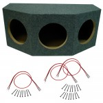 "Car Audio 3 Triple 10"" Sealed Stereo Subwoofer Enclosure Speaker Mdf Box Sub & Sub Wire Kit"
